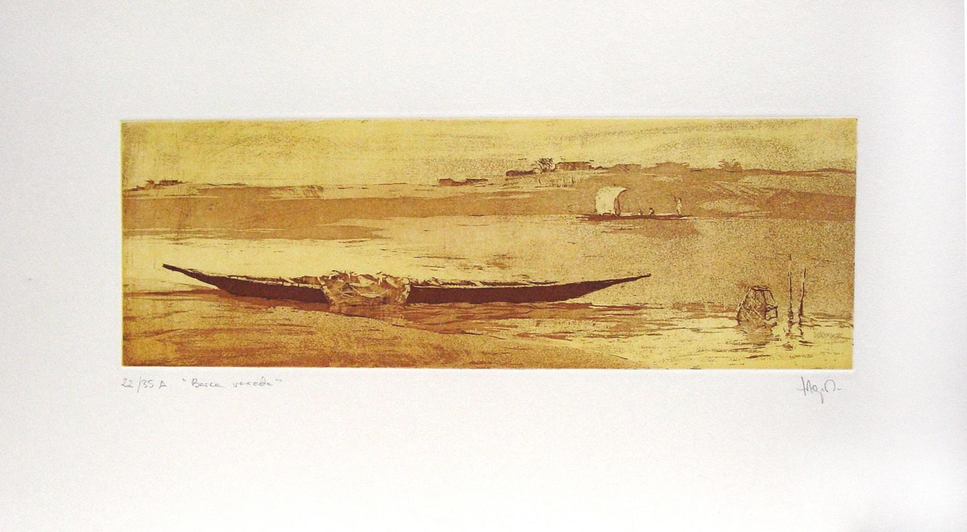 Barca varada 61 x 34 cm Aguatinta y Barniz blando