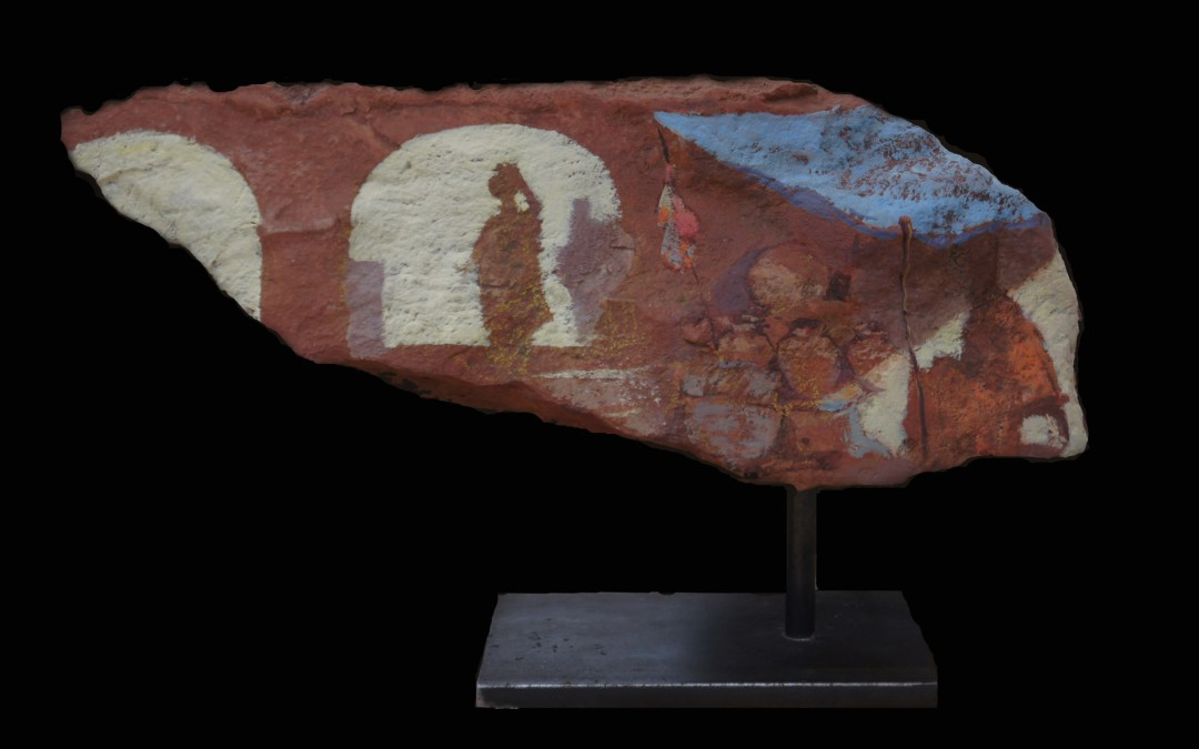 Mercado 20 x 37 x 10 cms mixta sobre piedra