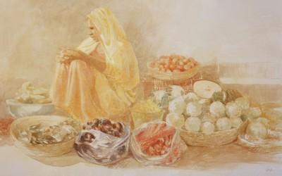 Mujer en el mercado 81 x 116 cms t mixta tela