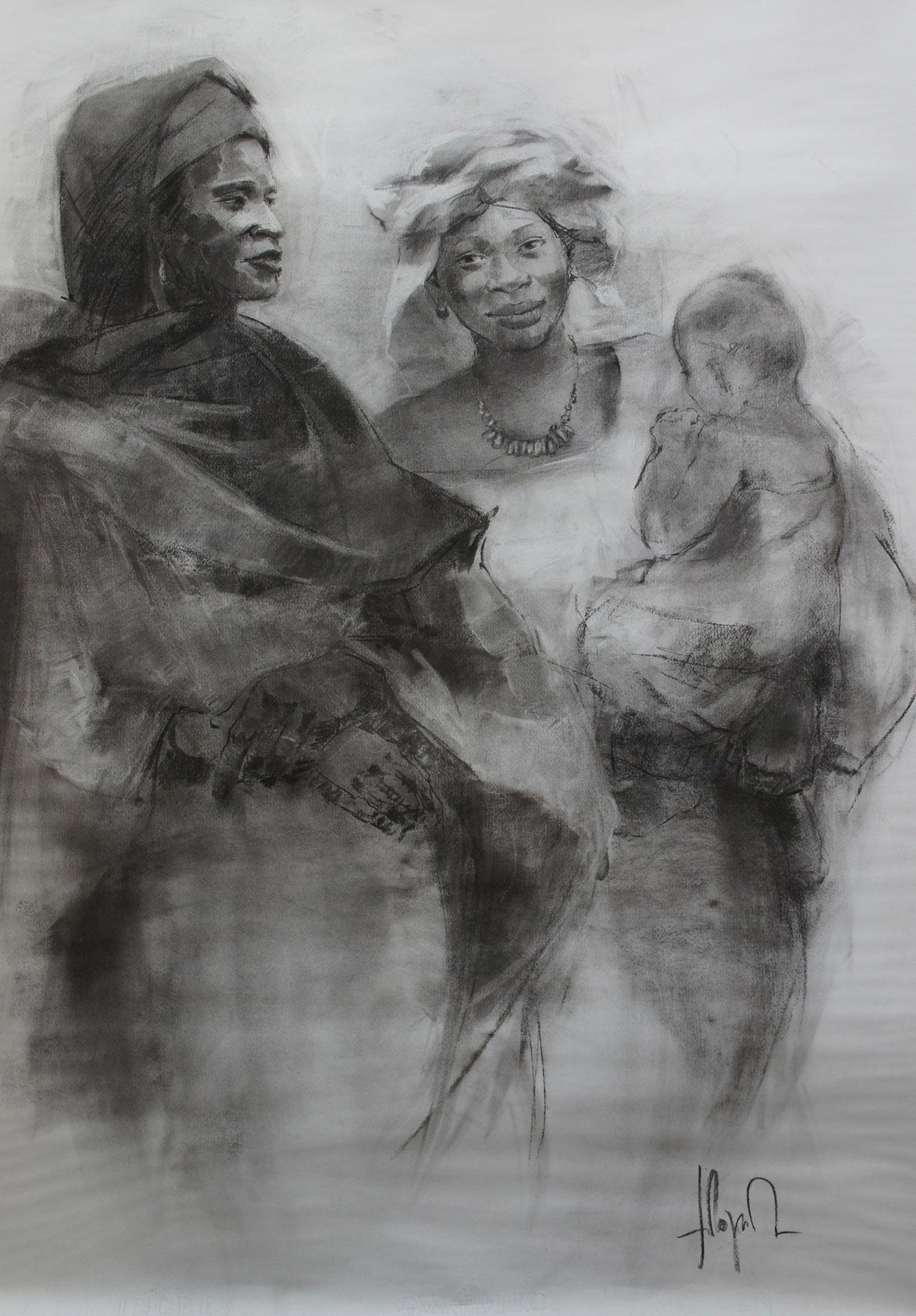 Mujeres-de-Mali-carboncillo_100-x-70