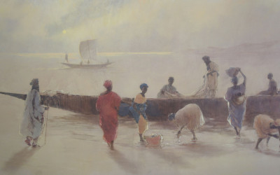 Tarde-en-el-Niger-tecnica-mixta-lienzo-97-x-195-cm