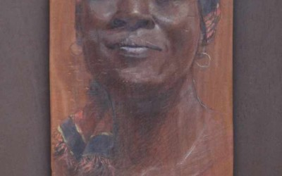 Haoua 70 x 42 cm mixed media on african wood