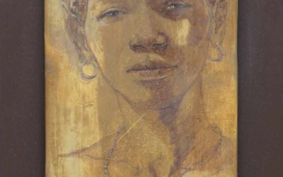 Mujer de Mali 67 x 36 cm mixed media on african wood