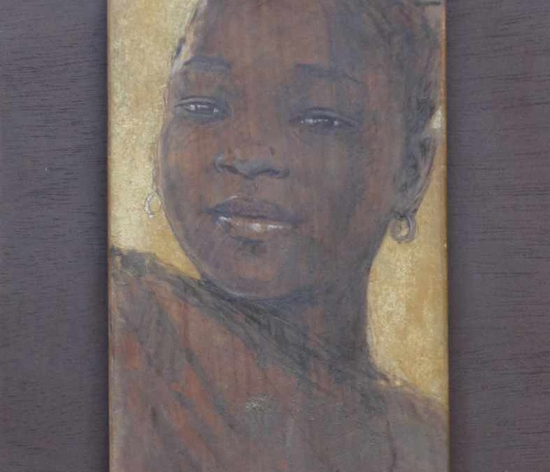 Bintou 32 x 60 cm ( 23″ x 12″) mixed media on african wood