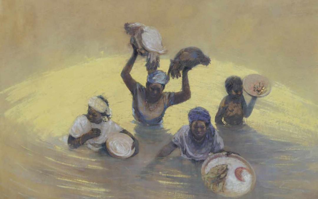 Venditrici nel fiume 114 x 146 cm tecnica mista sul tela