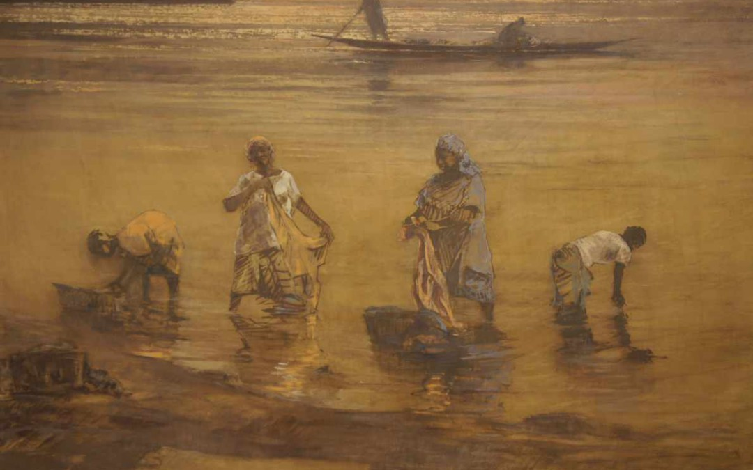Washing in the Niger river  40″ x 32″ mixed media (bogolan & óleo) on canvas